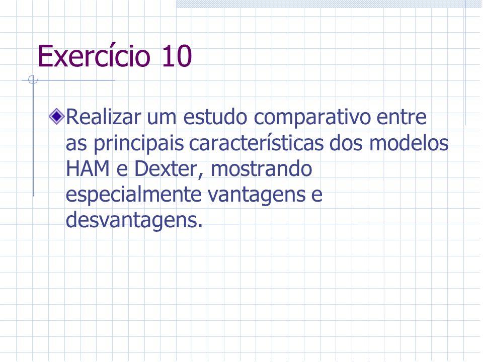 Exercício 10 Realizar um estudo comparativo entre as principais características dos modelos HAM e Dexter, mostrando especialmente vantagens e desvanta
