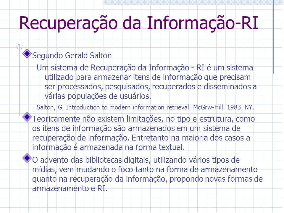 Recuperação da Informação-RI Segundo Gerald Salton Um sistema de Recuperação da Informação - RI é um sistema utilizado para armazenar itens de informa