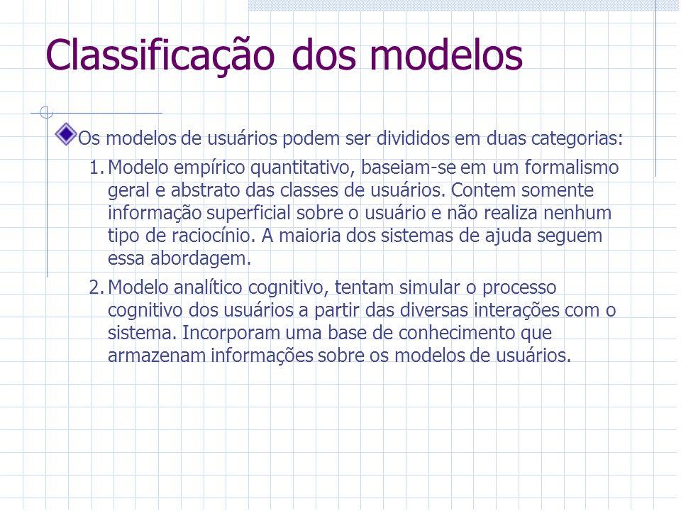 Classificação dos modelos Os modelos de usuários podem ser divididos em duas categorias: 1.Modelo empírico quantitativo, baseiam-se em um formalismo g