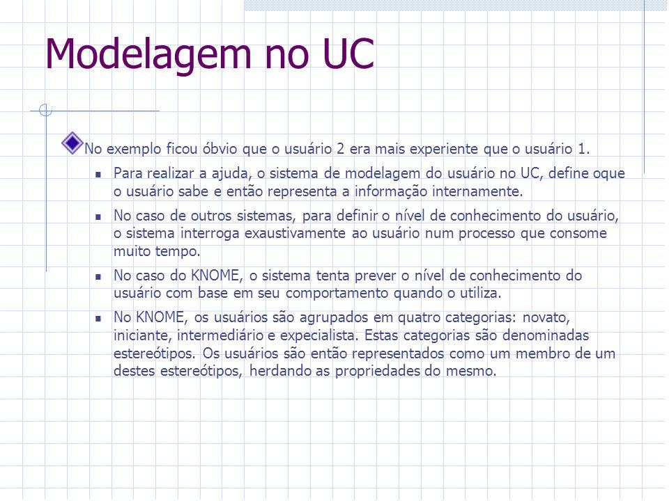 Modelagem no UC No exemplo ficou óbvio que o usuário 2 era mais experiente que o usuário 1. Para realizar a ajuda, o sistema de modelagem do usuário n