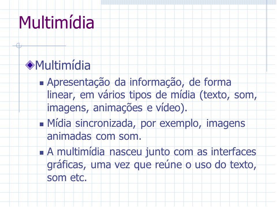 Multimídia Apresentação da informação, de forma linear, em vários tipos de mídia (texto, som, imagens, animações e vídeo). Mídia sincronizada, por exe
