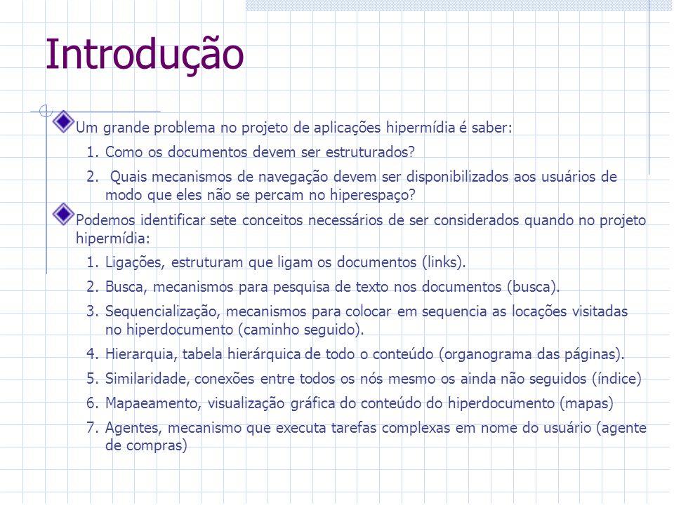Introdução Um grande problema no projeto de aplicações hipermídia é saber: 1.Como os documentos devem ser estruturados? 2. Quais mecanismos de navegaç