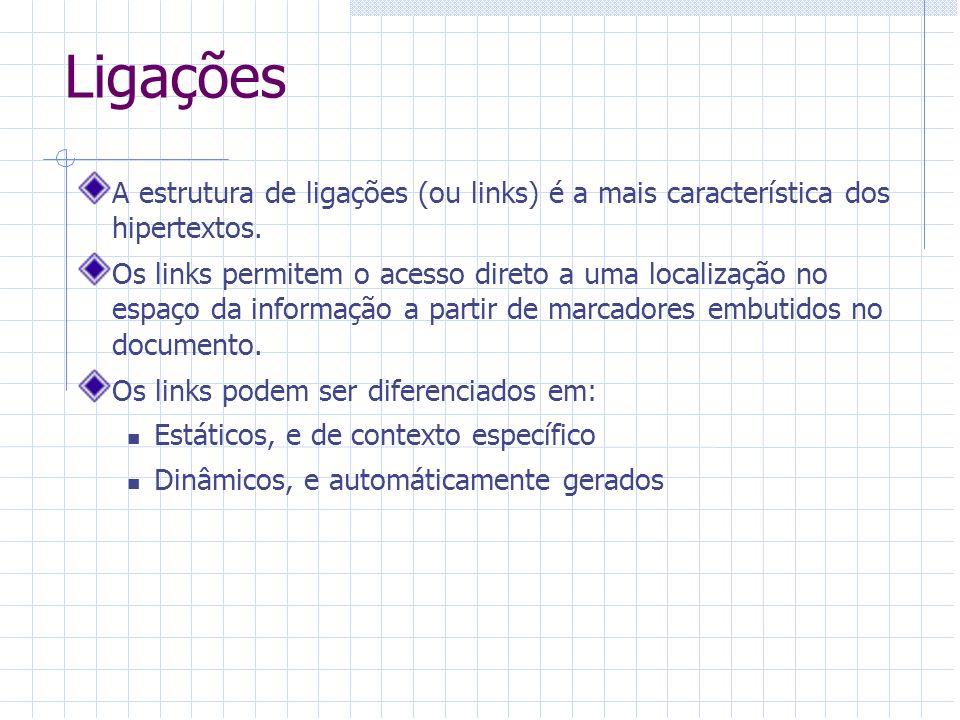 Ligações A estrutura de ligações (ou links) é a mais característica dos hipertextos. Os links permitem o acesso direto a uma localização no espaço da