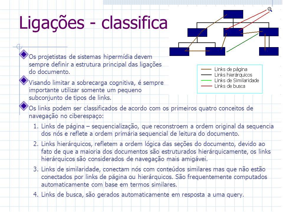 Ligações - classificação Além dessas quatro categorias de links que refletem a estrutura do documento e oferecem meios de estruturar a informação,pode-se identificar um outro tipo de link que incorpora referencias cruzadas entre os nós: 5.