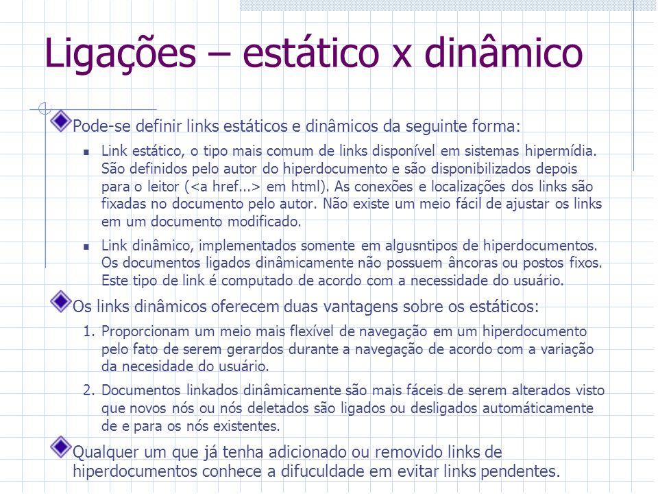 Ligações – estático x dinâmico Pode-se definir links estáticos e dinâmicos da seguinte forma: Link estático, o tipo mais comum de links disponível em