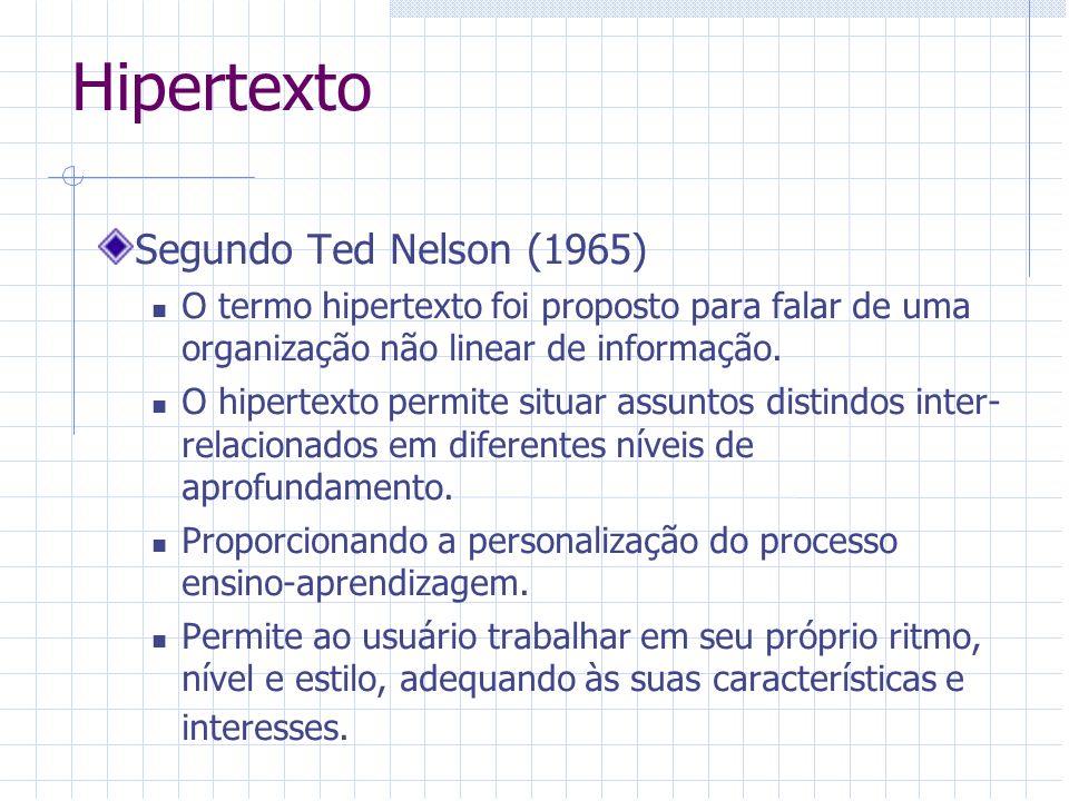 Hipertexto Segundo Ted Nelson (1965) O termo hipertexto foi proposto para falar de uma organização não linear de informação. O hipertexto permite situ