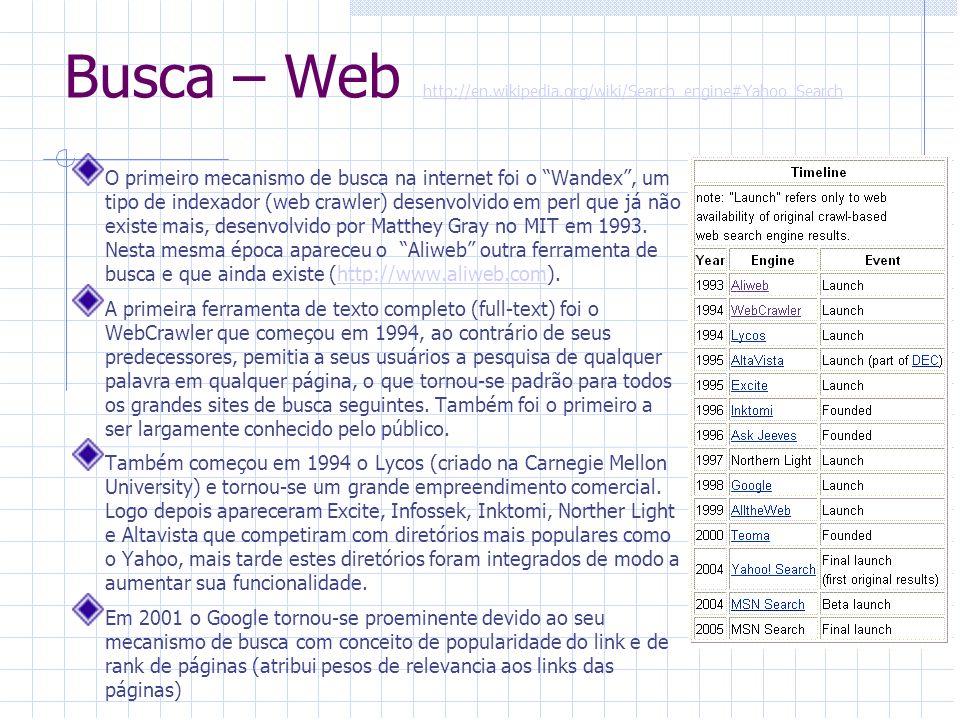 Busca – web crawler Também conhecido como web spider ou ant, é um programa que realiza uma navegação sistemática na WWW.