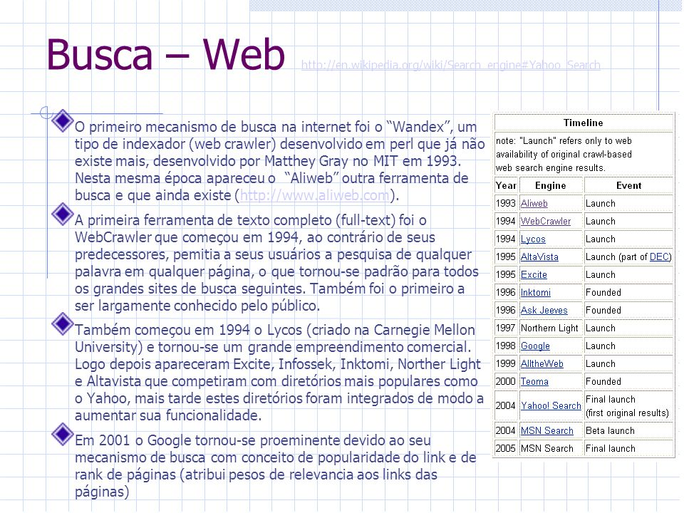 Busca – Web http://en.wikipedia.org/wiki/Search_engine#Yahoo_Searchhttp://en.wikipedia.org/wiki/Search_engine#Yahoo_Search O primeiro mecanismo de bus
