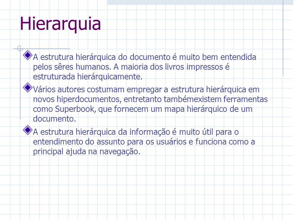 Hierarquia A estrutura hierárquica do documento é muito bem entendida pelos sêres humanos. A maioria dos livros impressos é estruturada hierárquicamen