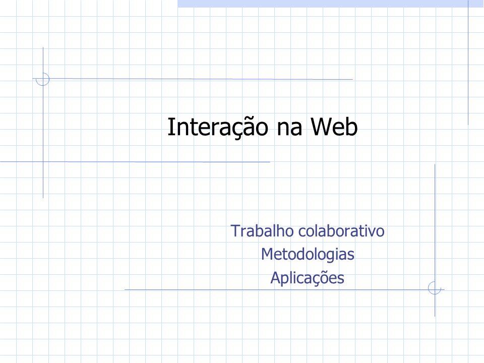 Interação na Web Trabalho colaborativo Metodologias Aplicações