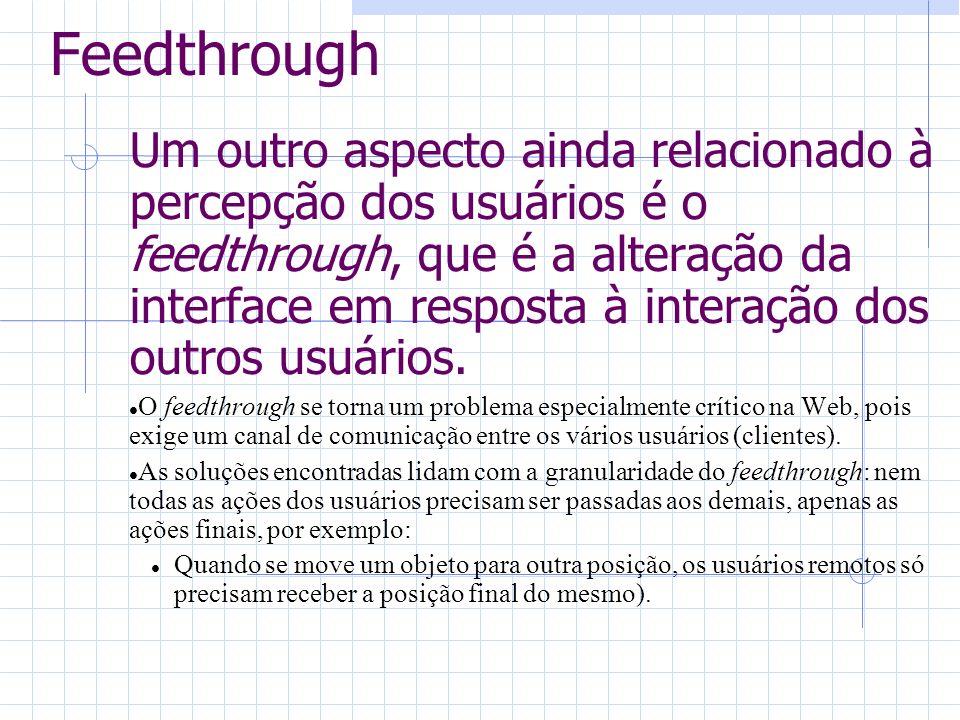 Feedthrough Um outro aspecto ainda relacionado à percepção dos usuários é o feedthrough, que é a alteração da interface em resposta à interação dos outros usuários.