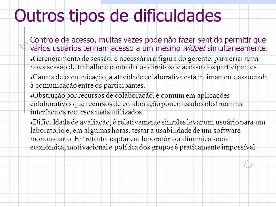 Outros tipos de dificuldades Controle de acesso, muitas vezes pode não fazer sentido permitir que vários usuários tenham acesso a um mesmo widget simu