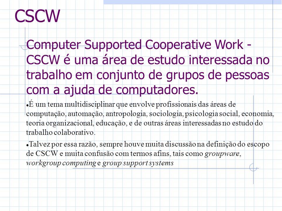CSCW Computer Supported Cooperative Work - CSCW é uma área de estudo interessada no trabalho em conjunto de grupos de pessoas com a ajuda de computadores.