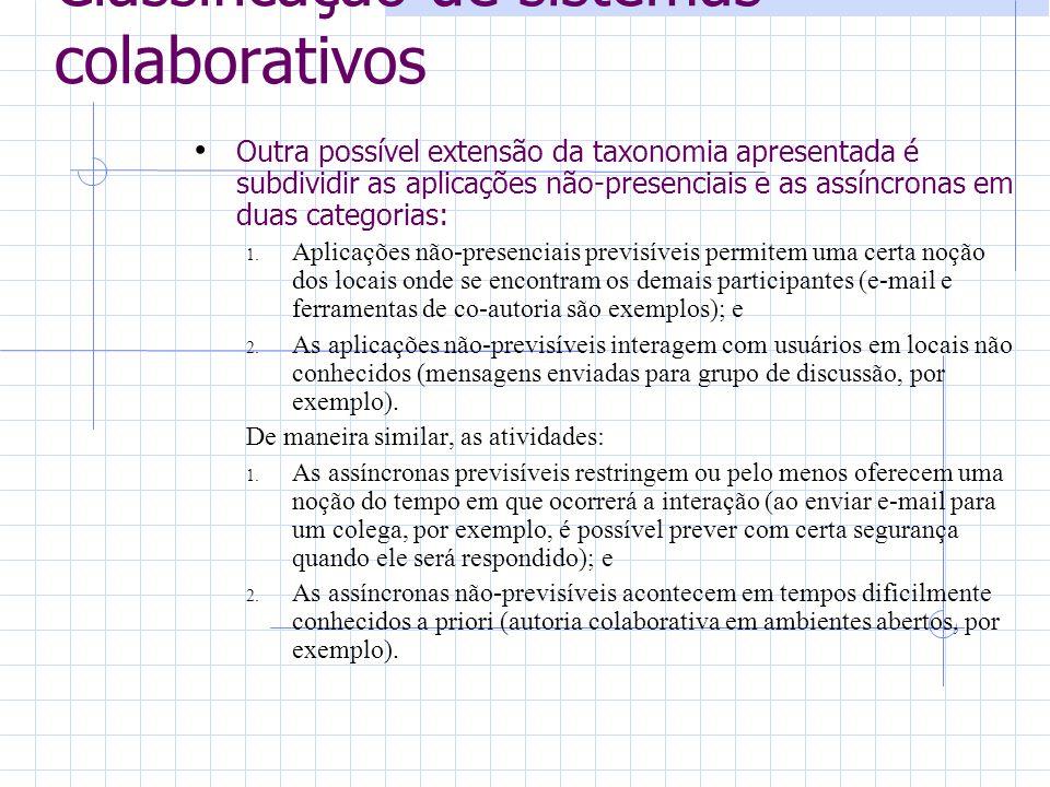 Classificação de sistemas colaborativos Outra possível extensão da taxonomia apresentada é subdividir as aplicações não-presenciais e as assíncronas em duas categorias: 1.