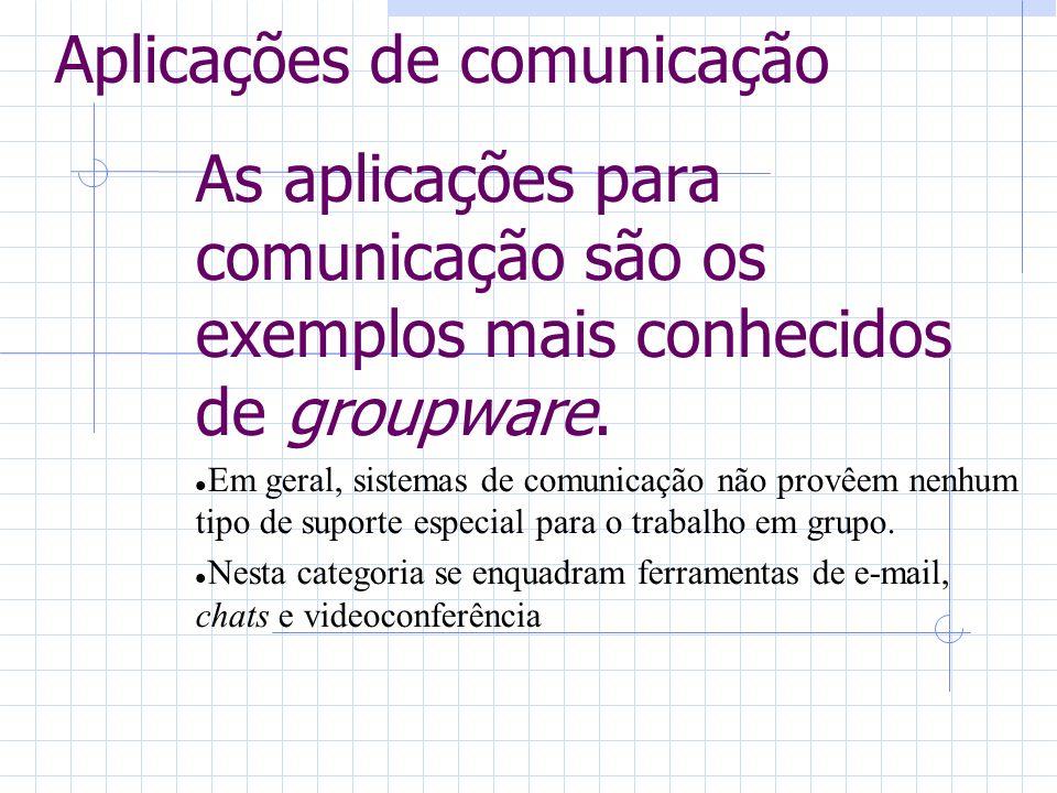 Aplicações de comunicação As aplicações para comunicação são os exemplos mais conhecidos de groupware. Em geral, sistemas de comunicação não provêem n
