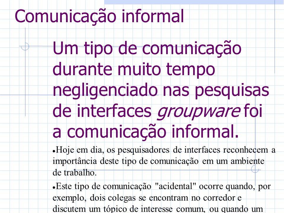 Comunicação informal Um tipo de comunicação durante muito tempo negligenciado nas pesquisas de interfaces groupware foi a comunicação informal. Hoje e