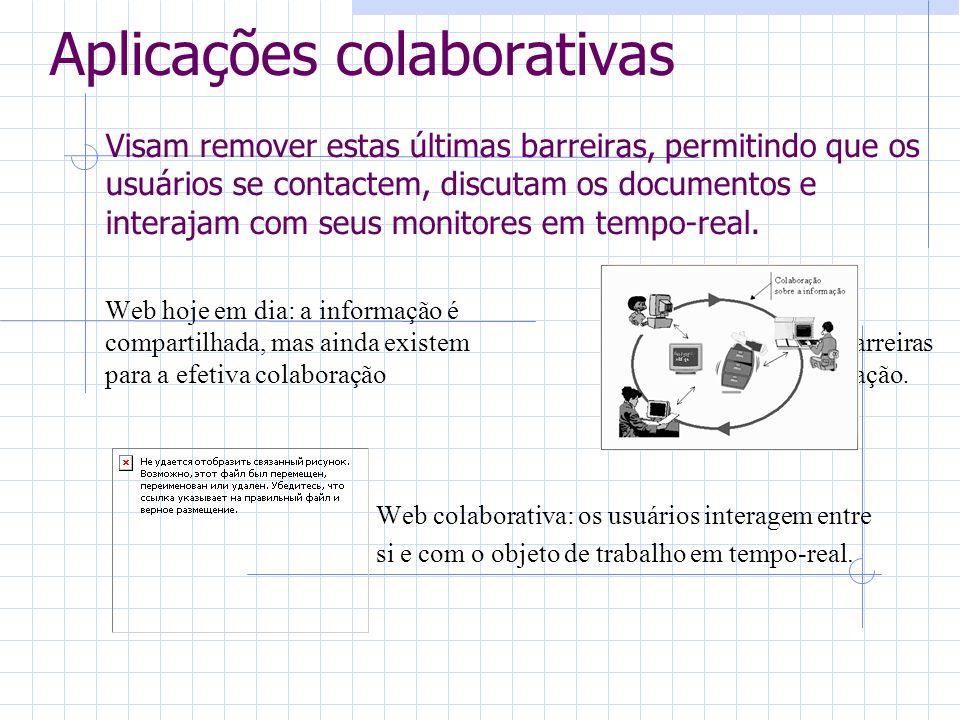 Aplicações colaborativas Visam remover estas últimas barreiras, permitindo que os usuários se contactem, discutam os documentos e interajam com seus monitores em tempo-real.