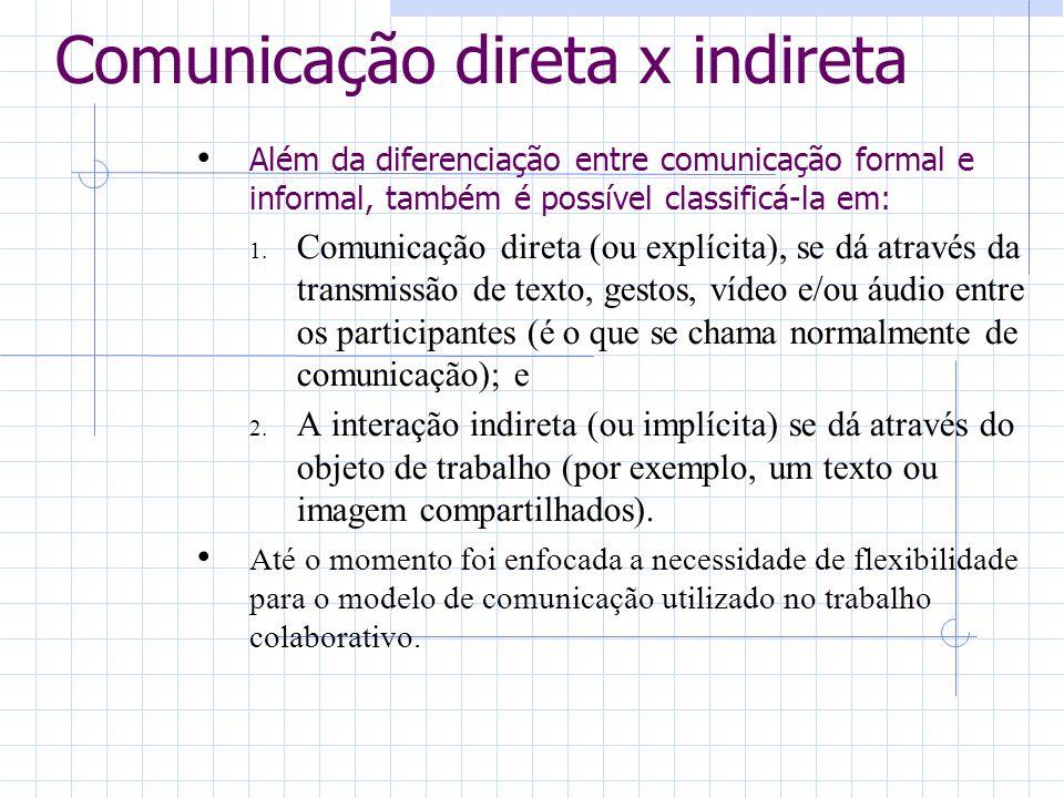 Comunicação direta x indireta Além da diferenciação entre comunicação formal e informal, também é possível classificá-la em: 1. Comunicação direta (ou