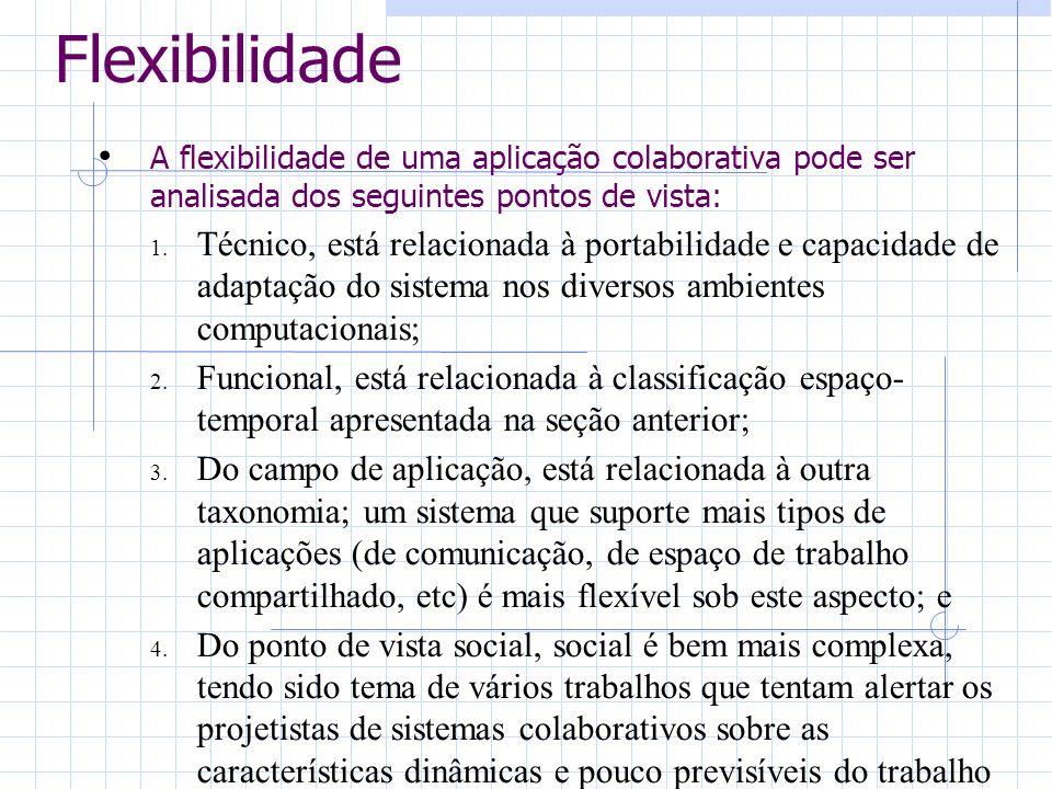 Flexibilidade A flexibilidade de uma aplicação colaborativa pode ser analisada dos seguintes pontos de vista: 1. Técnico, está relacionada à portabili