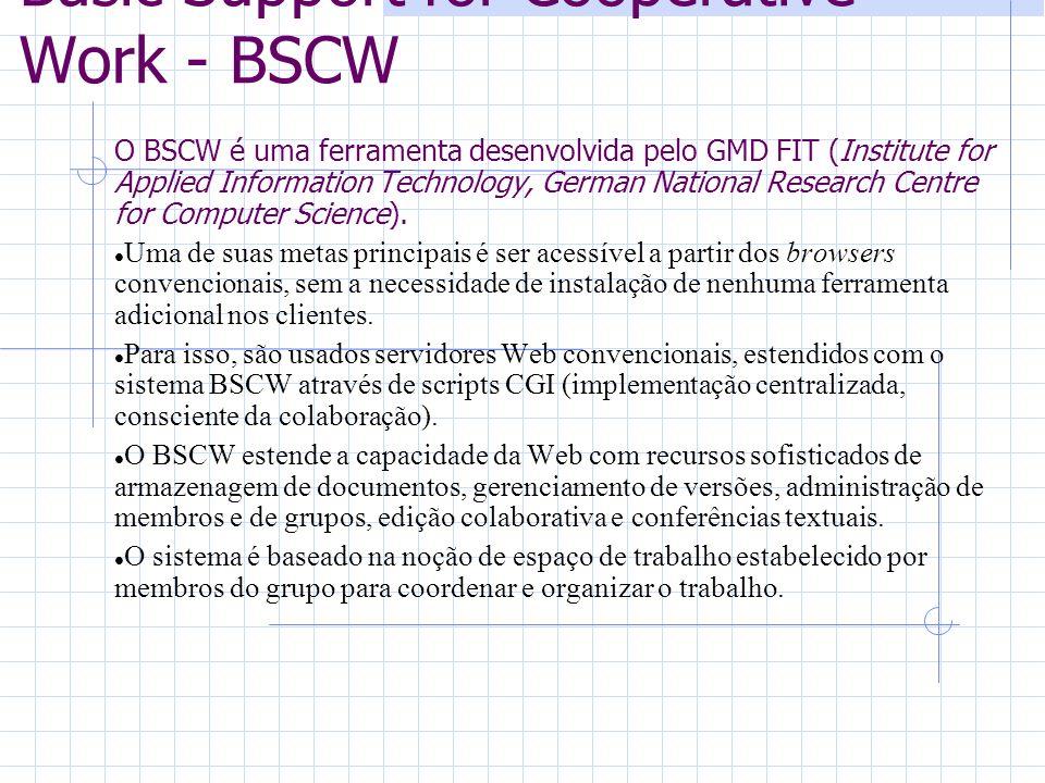 Basic Support for Cooperative Work - BSCW O BSCW é uma ferramenta desenvolvida pelo GMD FIT (Institute for Applied Information Technology, German Nati
