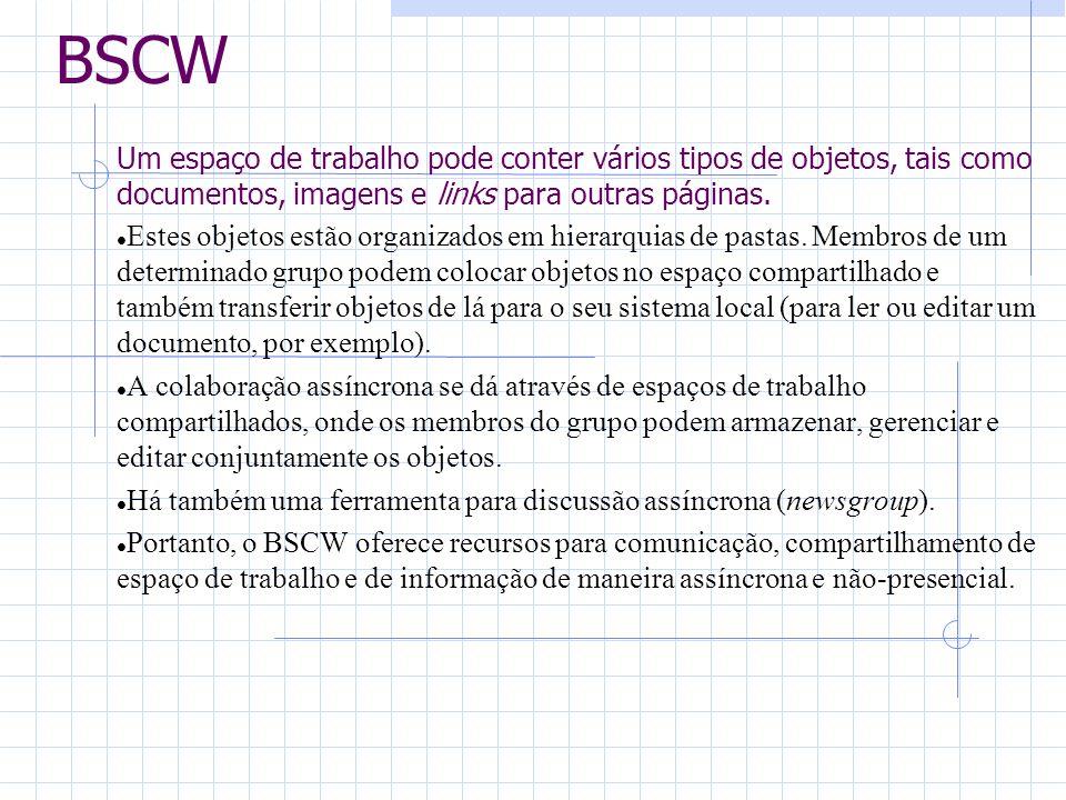 BSCW Um espaço de trabalho pode conter vários tipos de objetos, tais como documentos, imagens e links para outras páginas. Estes objetos estão organiz