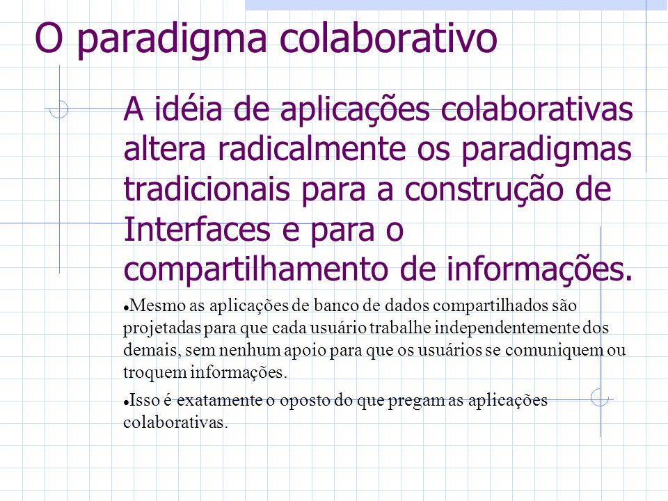 O paradigma colaborativo A idéia de aplicações colaborativas altera radicalmente os paradigmas tradicionais para a construção de Interfaces e para o c