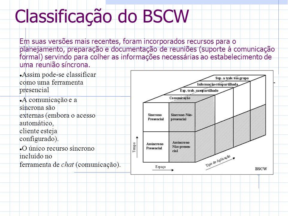 Classificação do BSCW Em suas versões mais recentes, foram incorporados recursos para o planejamento, preparação e documentação de reuniões (suporte à comunicação formal) servindo para colher as informações necessárias ao estabelecimento de uma reunião síncrona.