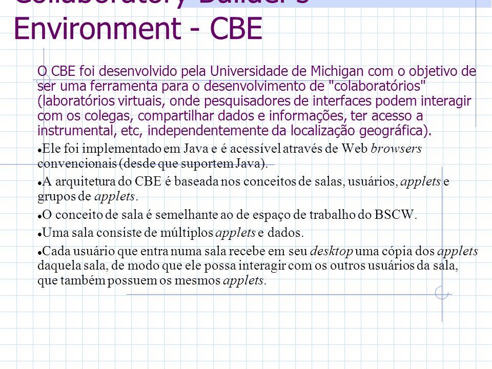 Collaboratory Builders Environment - CBE O CBE foi desenvolvido pela Universidade de Michigan com o objetivo de ser uma ferramenta para o desenvolvimento de colaboratórios (laboratórios virtuais, onde pesquisadores de interfaces podem interagir com os colegas, compartilhar dados e informações, ter acesso a instrumental, etc, independentemente da localização geográfica).