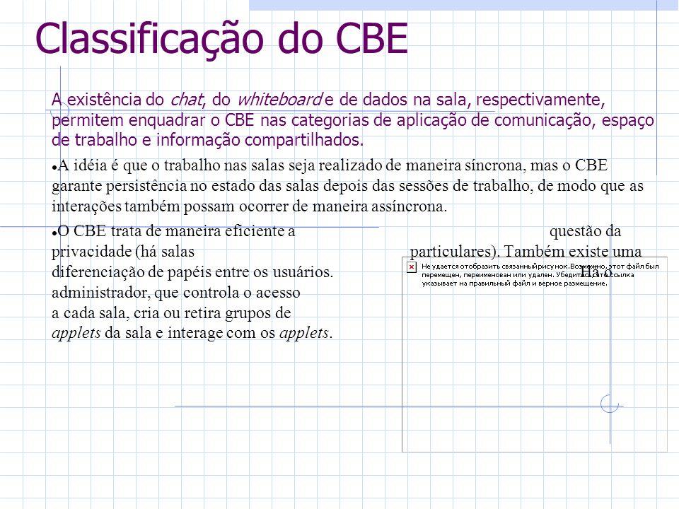 Classificação do CBE A existência do chat, do whiteboard e de dados na sala, respectivamente, permitem enquadrar o CBE nas categorias de aplicação de comunicação, espaço de trabalho e informação compartilhados.