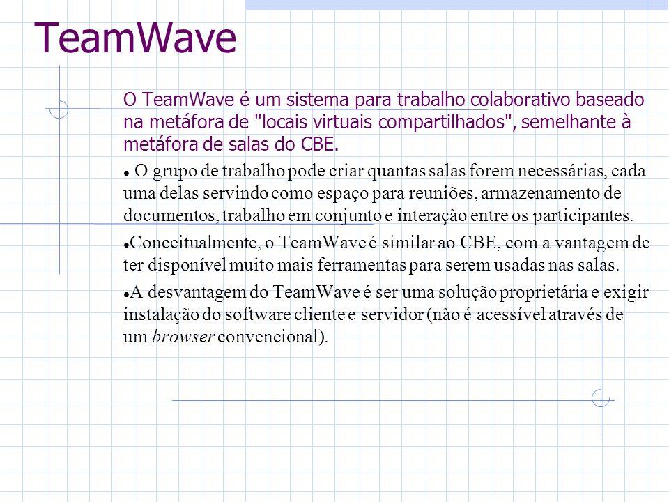 TeamWave O TeamWave é um sistema para trabalho colaborativo baseado na metáfora de locais virtuais compartilhados , semelhante à metáfora de salas do CBE.