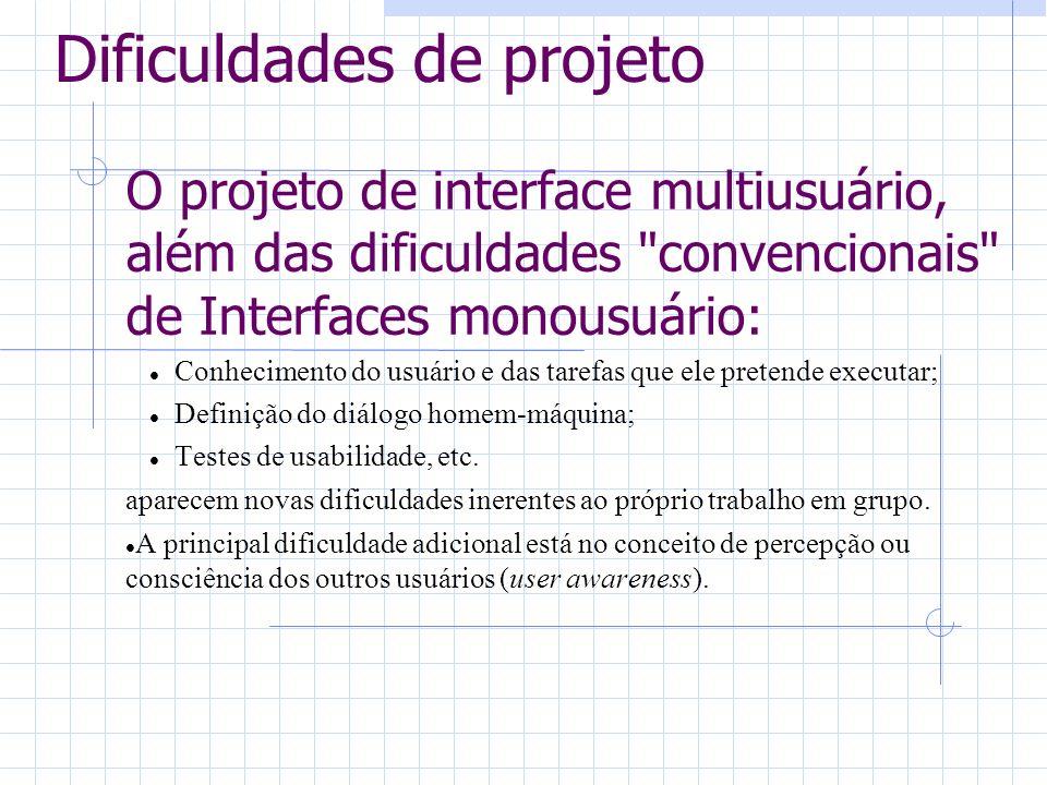 Dificuldades de projeto O projeto de interface multiusuário, além das dificuldades