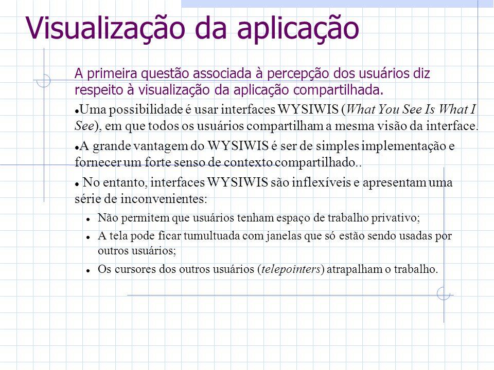 Visualização da aplicação A primeira questão associada à percepção dos usuários diz respeito à visualização da aplicação compartilhada. Uma possibilid