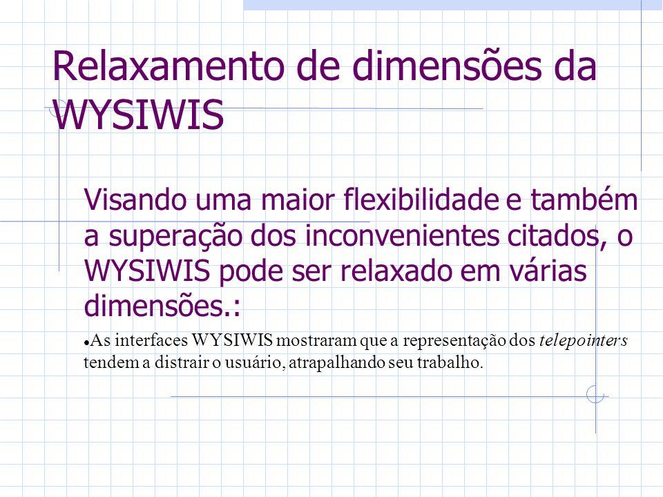 Relaxamento de dimensões da WYSIWIS Visando uma maior flexibilidade e também a superação dos inconvenientes citados, o WYSIWIS pode ser relaxado em várias dimensões.: As interfaces WYSIWIS mostraram que a representação dos telepointers tendem a distrair o usuário, atrapalhando seu trabalho.