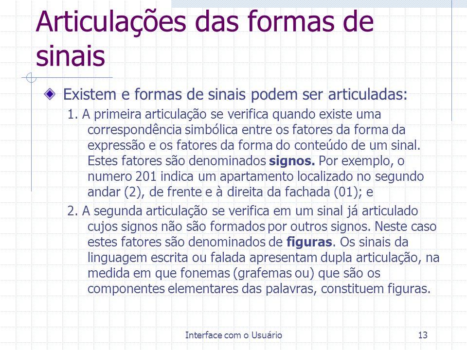 Interface com o Usuário13 Articulações das formas de sinais Existem e formas de sinais podem ser articuladas: 1. A primeira articulação se verifica qu
