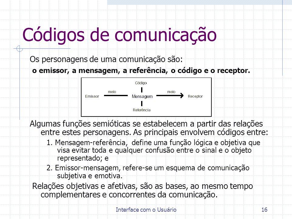 Interface com o Usuário16 Códigos de comunicação Os personagens de uma comunicação são: o emissor, a mensagem, a referência, o código e o receptor. Al