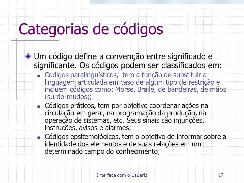 Interface com o Usuário17 Categorias de códigos Um código define a convenção entre significado e significante. Os códigos podem ser classificados em: