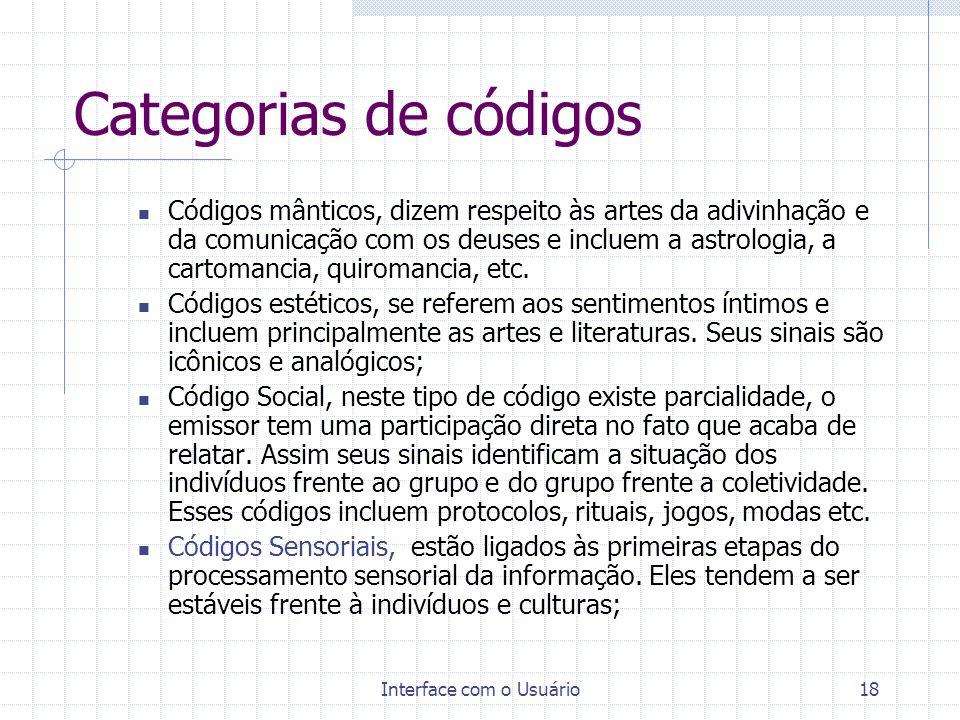Interface com o Usuário18 Categorias de códigos Códigos mânticos, dizem respeito às artes da adivinhação e da comunicação com os deuses e incluem a as
