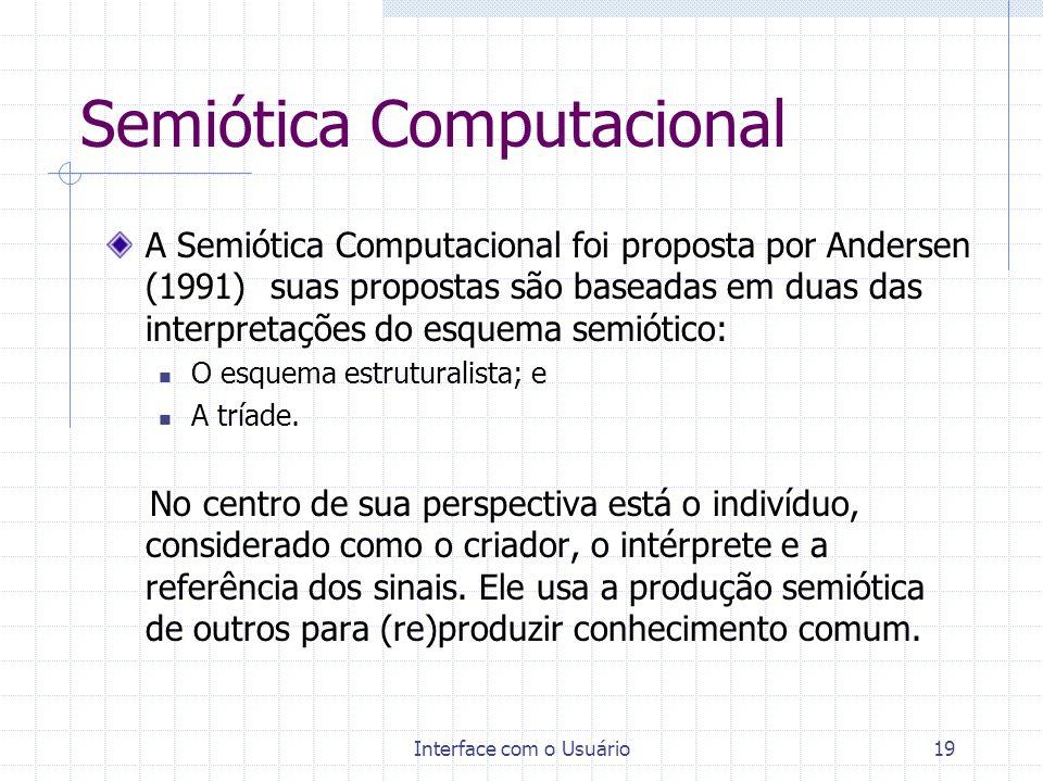 Interface com o Usuário19 Semiótica Computacional A Semiótica Computacional foi proposta por Andersen (1991) suas propostas são baseadas em duas das i