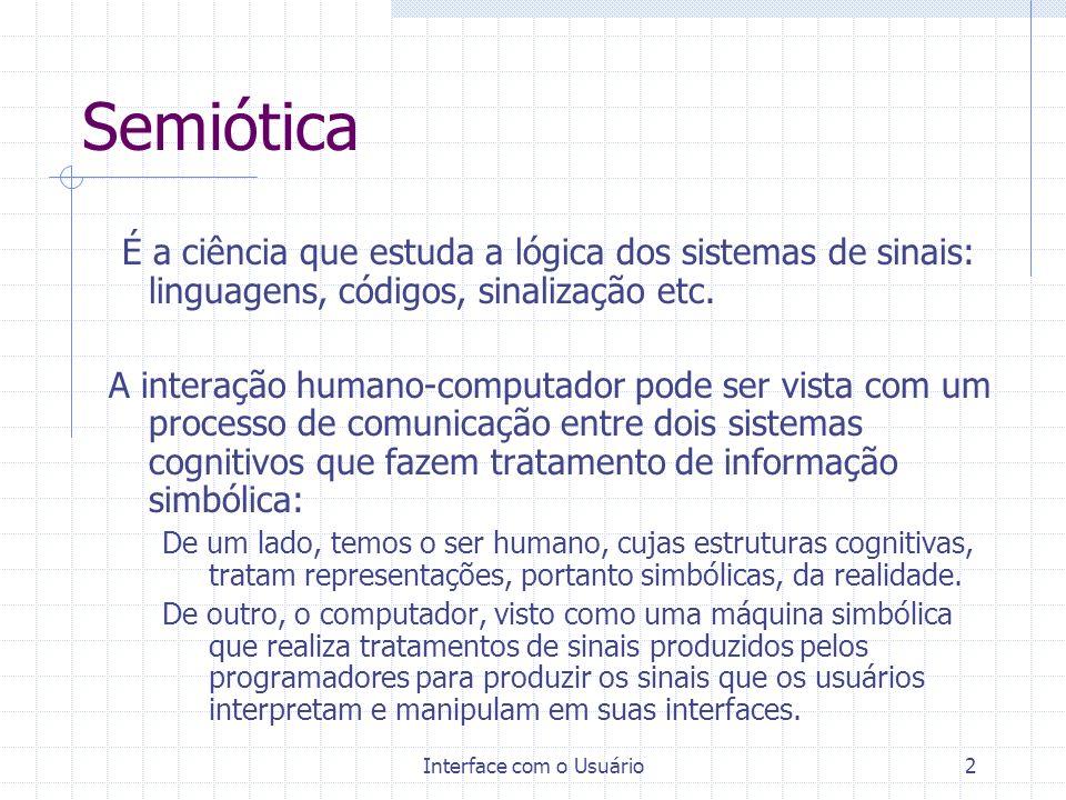 Interface com o Usuário3 Os Componentes de um sinal No século XX, Pierce e Saussure lançaram as bases de duas disciplinas dedicadas aos sinais: Semiótica e Semiologia.