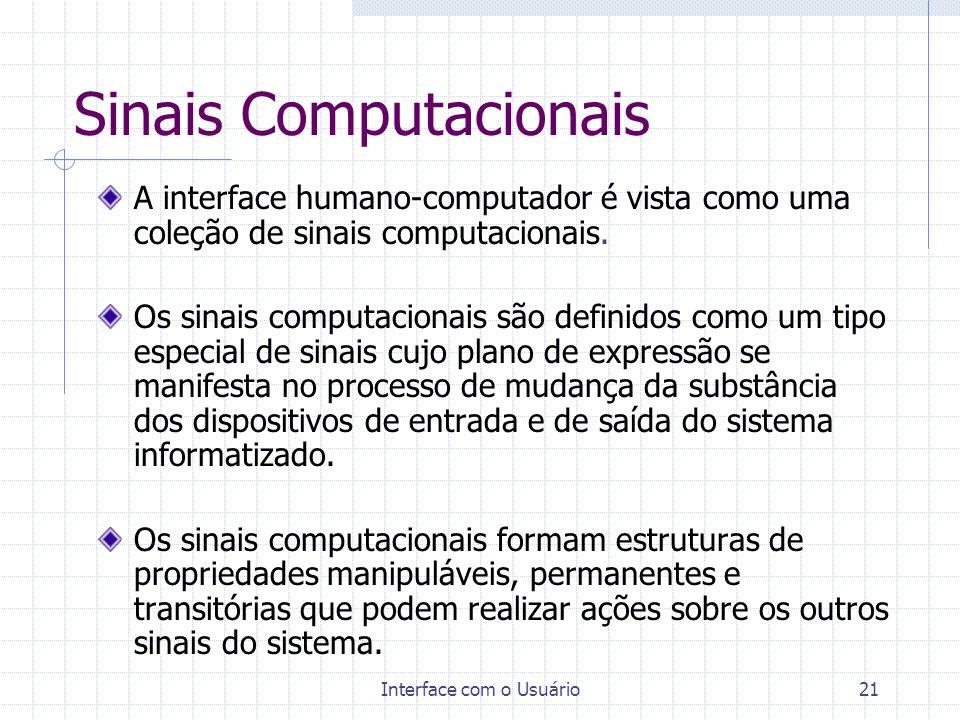 Interface com o Usuário21 Sinais Computacionais A interface humano-computador é vista como uma coleção de sinais computacionais. Os sinais computacion