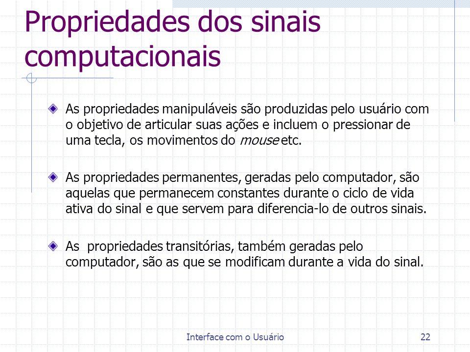 Interface com o Usuário22 Propriedades dos sinais computacionais As propriedades manipuláveis são produzidas pelo usuário com o objetivo de articular