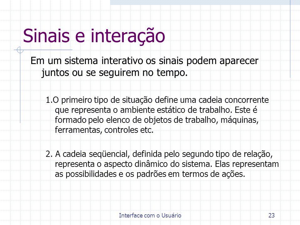 Interface com o Usuário23 Sinais e interação Em um sistema interativo os sinais podem aparecer juntos ou se seguirem no tempo. 1.O primeiro tipo de si