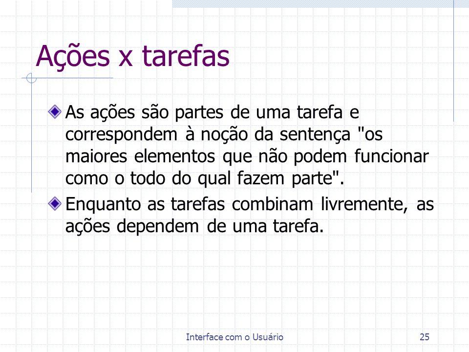 Interface com o Usuário25 Ações x tarefas As ações são partes de uma tarefa e correspondem à noção da sentença