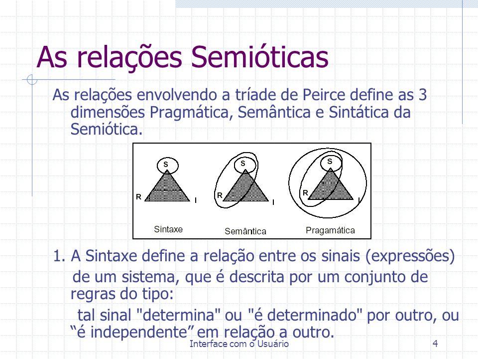 Interface com o Usuário4 As relações Semióticas As relações envolvendo a tríade de Peirce define as 3 dimensões Pragmática, Semântica e Sintática da S