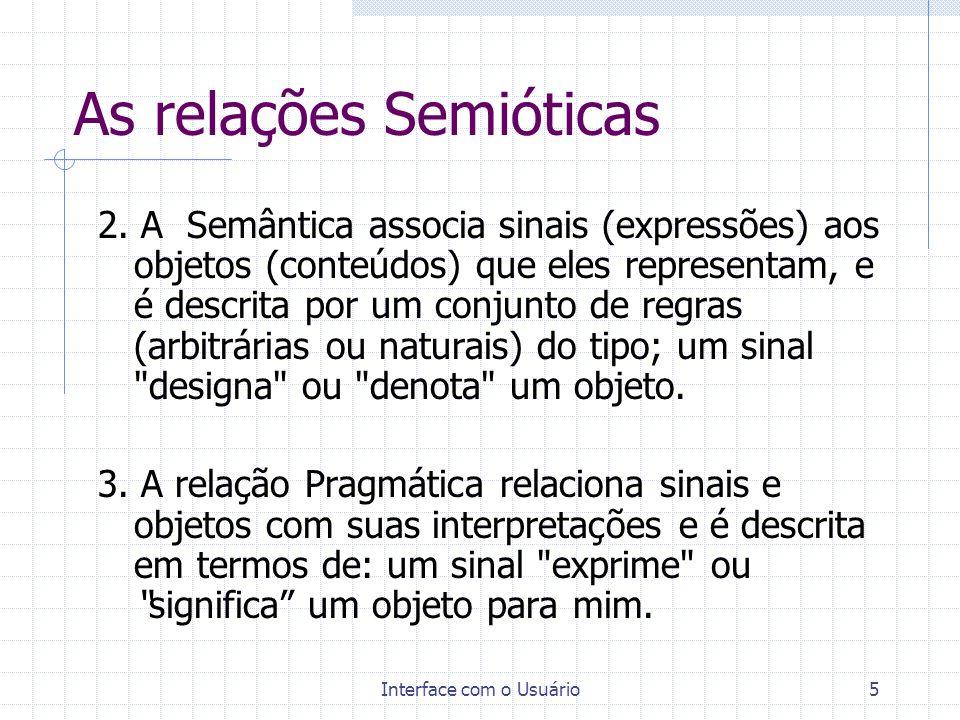 Interface com o Usuário6 As Funções de um Sinal A partir dos níveis semióticos (Sintaxe, Semântica e Pragmática) pode-se derivar as três funções fundamentais de um sinal: 1.