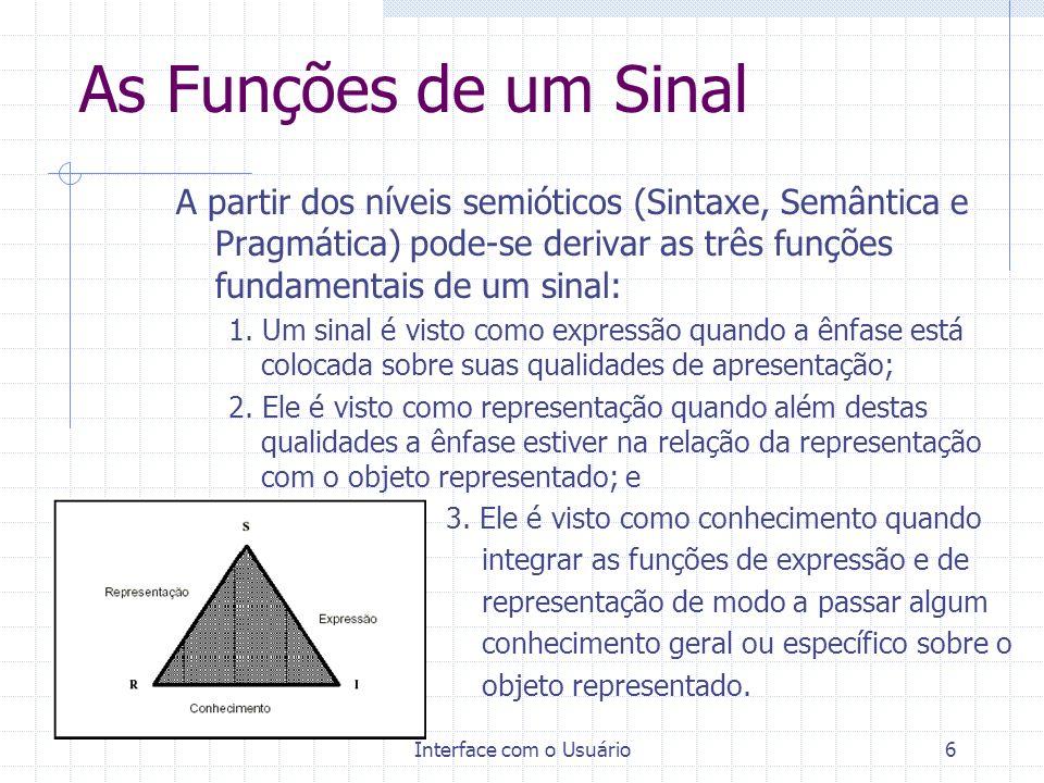 Interface com o Usuário6 As Funções de um Sinal A partir dos níveis semióticos (Sintaxe, Semântica e Pragmática) pode-se derivar as três funções funda