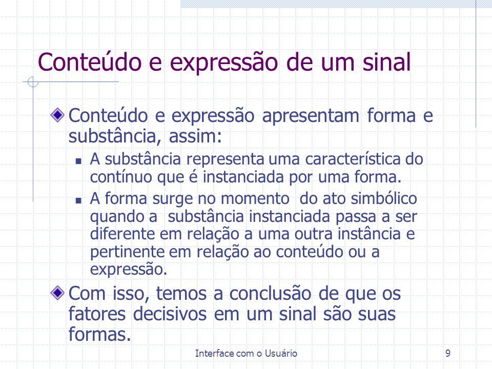 Interface com o Usuário9 Conteúdo e expressão de um sinal Conteúdo e expressão apresentam forma e substância, assim: A substância representa uma carac