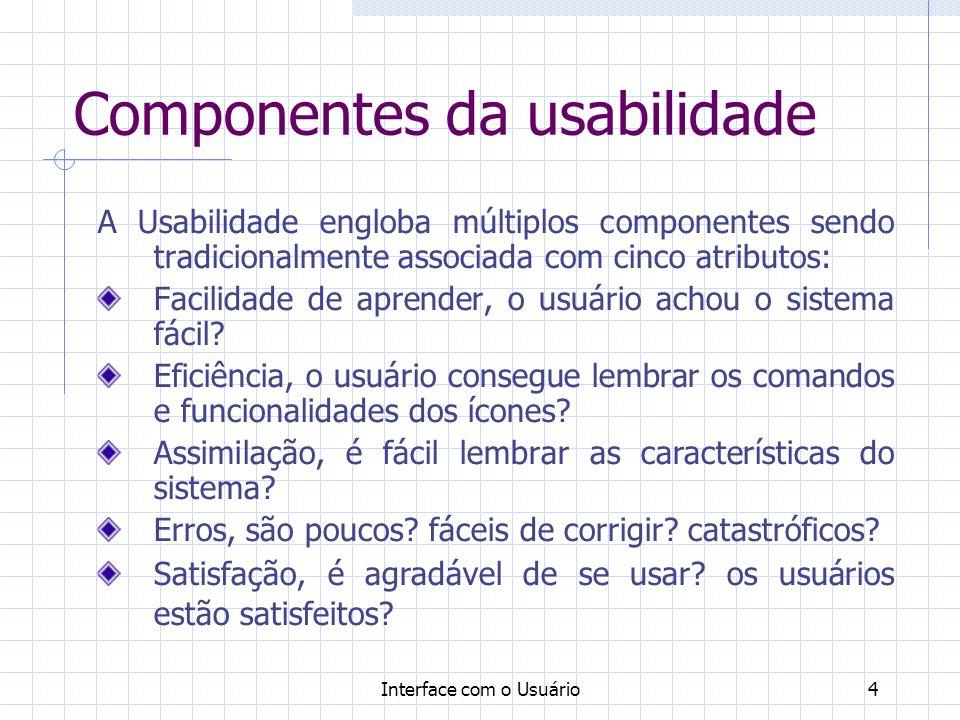 Interface com o Usuário4 Componentes da usabilidade A Usabilidade engloba múltiplos componentes sendo tradicionalmente associada com cinco atributos: Facilidade de aprender, o usuário achou o sistema fácil.
