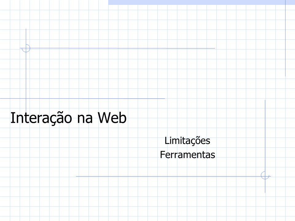 Interação na Web Limitações Ferramentas
