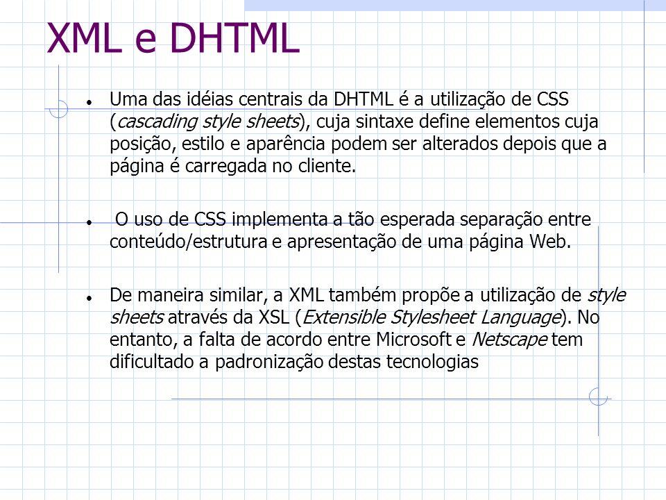 XML e DHTML Uma das idéias centrais da DHTML é a utilização de CSS (cascading style sheets), cuja sintaxe define elementos cuja posição, estilo e apar